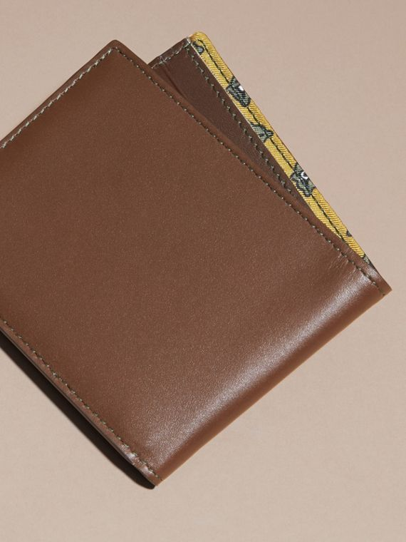 Sepia brown Smooth Leather Folding Wallet with Printed Lining Sepia Brown - cell image 3