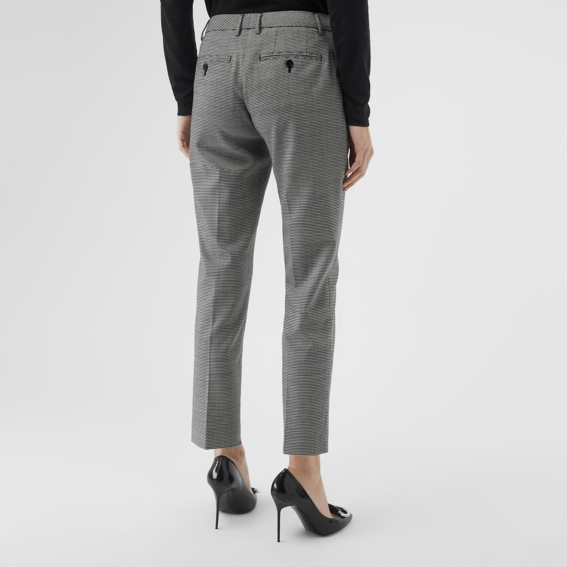 Houndstooth Check Wool Cropped Tailored Trousers in Black - Women | Burberry - gallery image 2