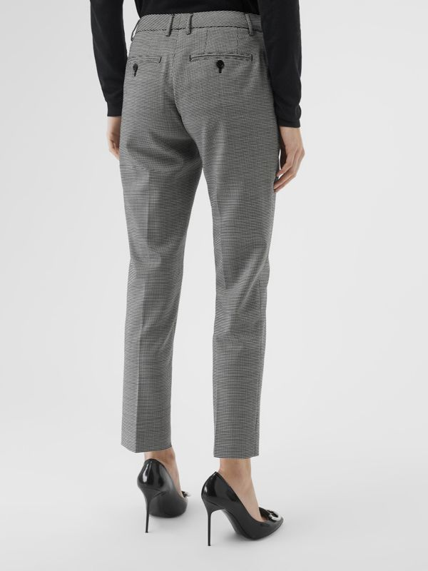 Houndstooth Check Wool Cropped Tailored Trousers in Black - Women | Burberry Canada - cell image 2