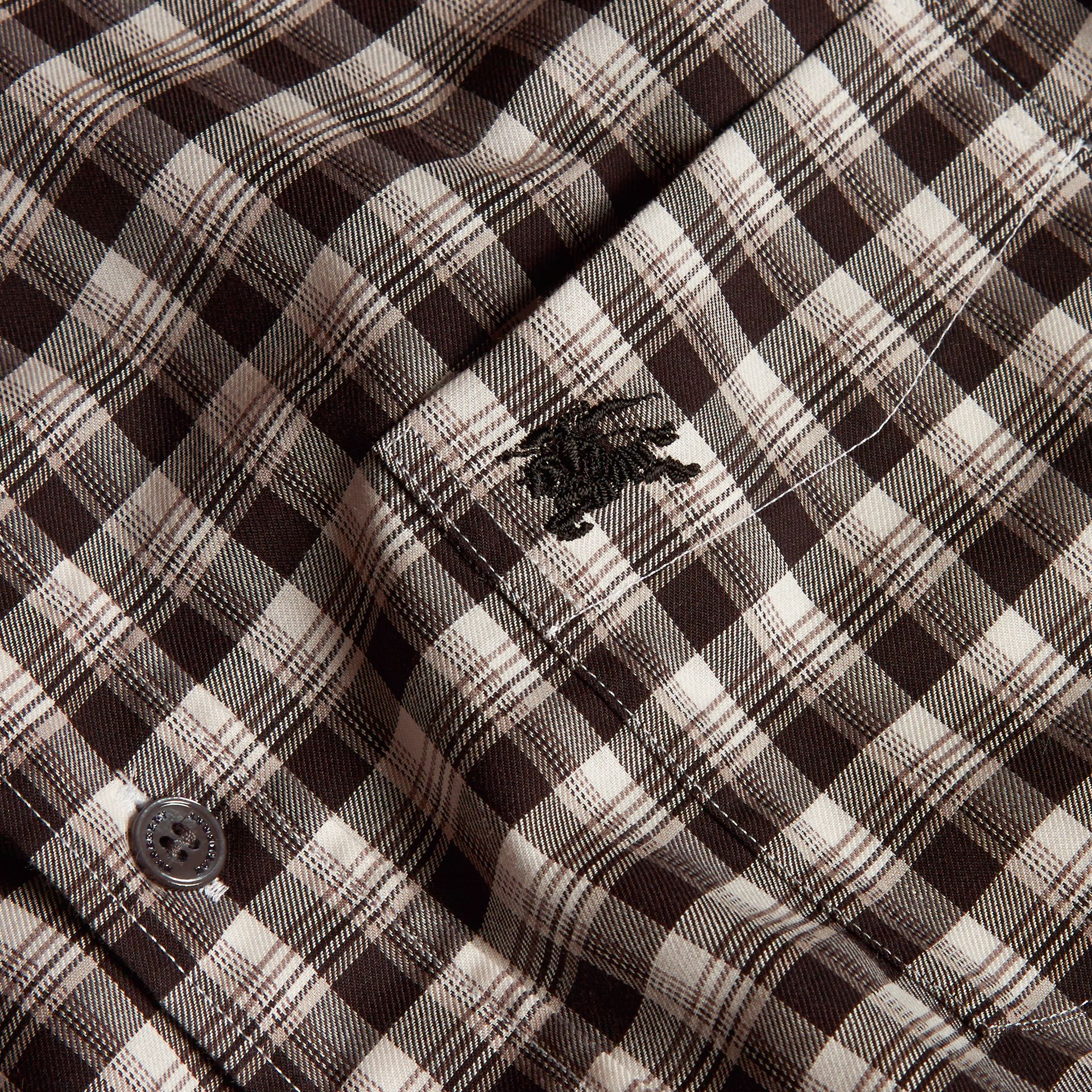 Black Gingham Check Cotton Twill Shirt Black - gallery image 2