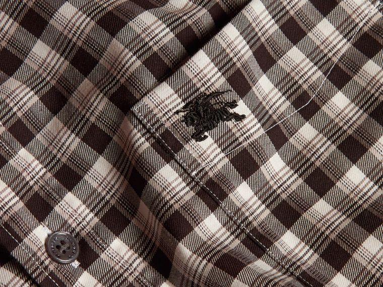 Black Gingham Check Cotton Twill Shirt Black - cell image 1