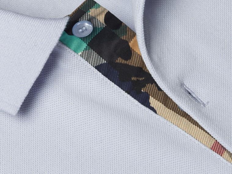 Printed Check Placket Cotton Piqué Polo Shirt - cell image 1