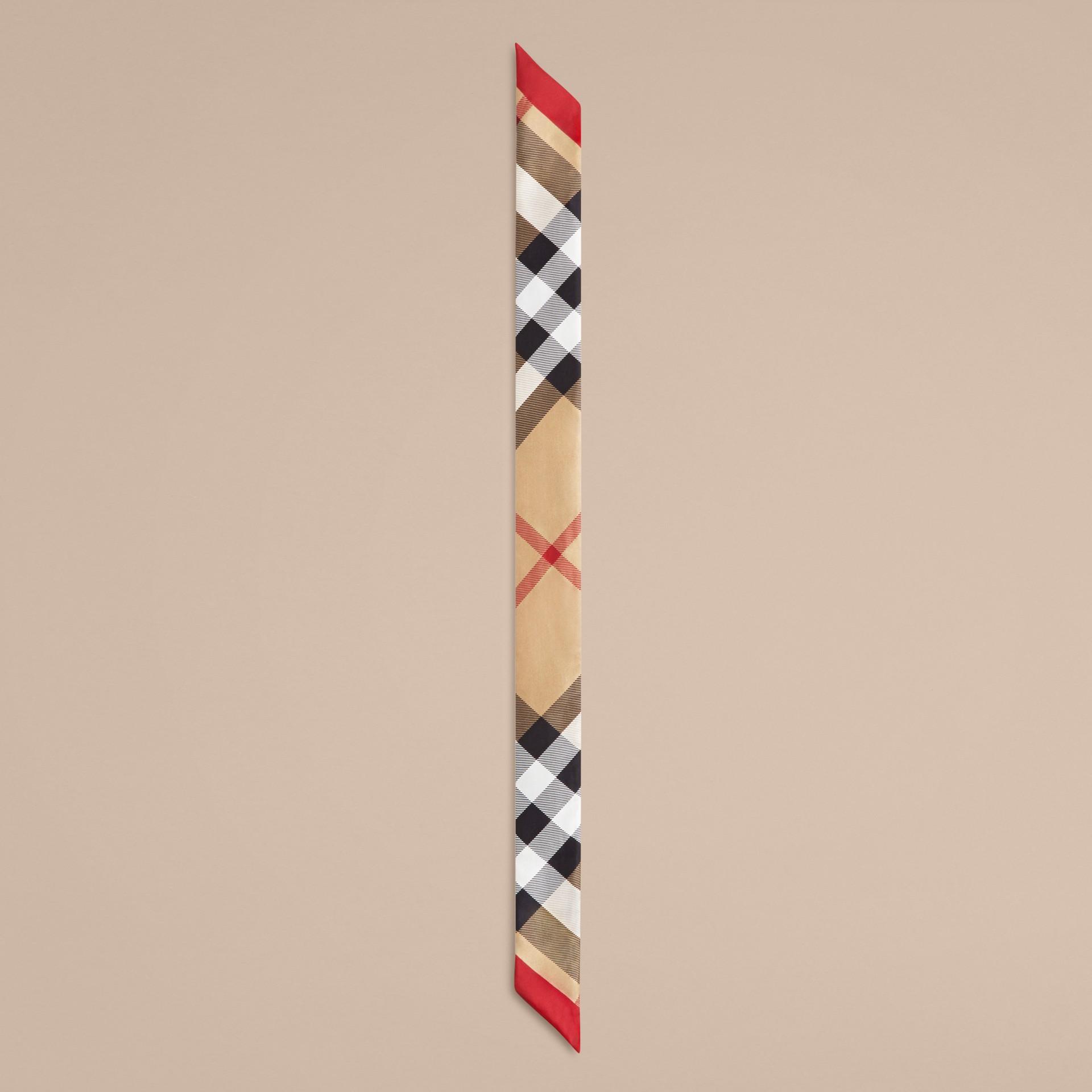 Cammello Sciarpa sottile in seta con stampa con motivo check Cammello - immagine della galleria 3