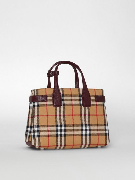 The Small Banner in Vintage Check and Leather in Deep Claret