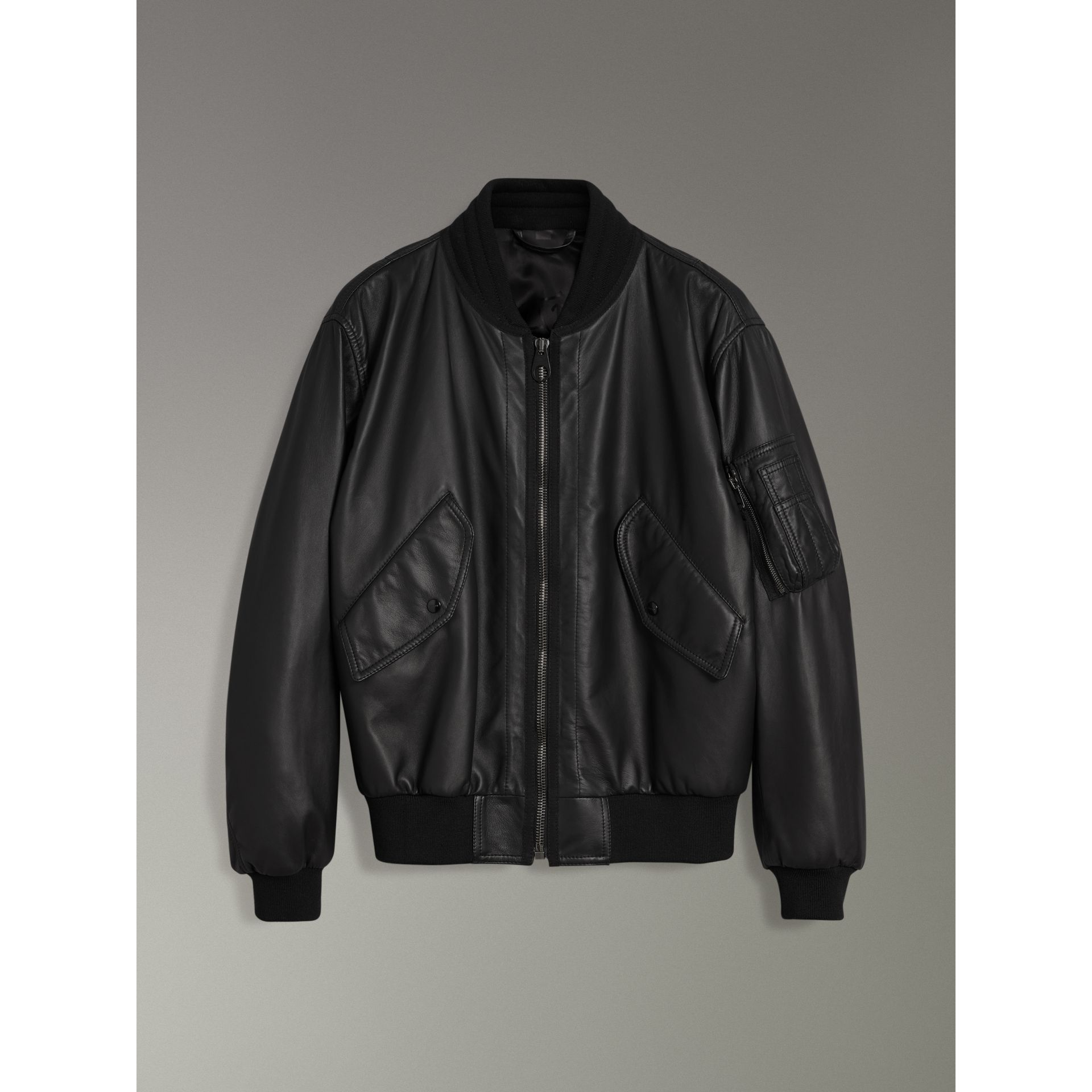 Lambskin Bomber Jacket in Black - Men | Burberry Singapore - gallery image 3