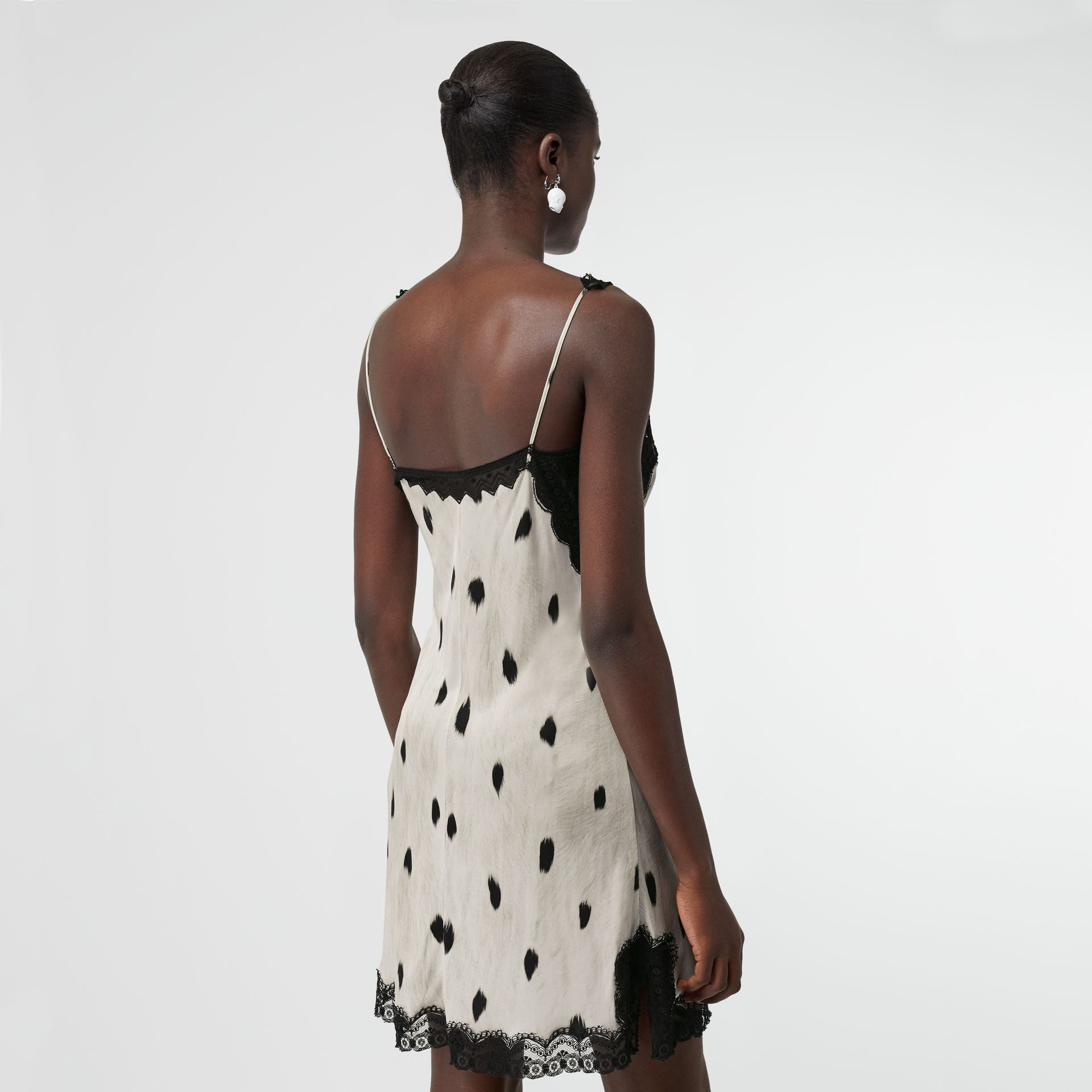 Lace Panel Animal Print Slip Dress in Black/white - Women | Burberry Canada - gallery image 2