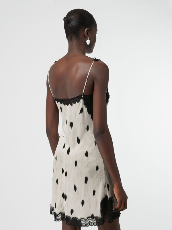 Lace Panel Animal Print Slip Dress in Black/white - Women | Burberry - cell image 2