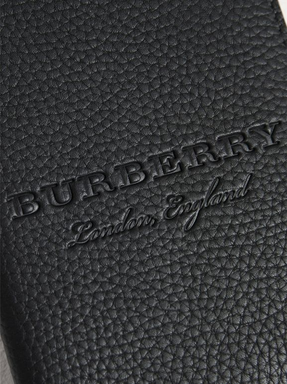 Embossed Leather Passport Holder in Black | Burberry - cell image 1