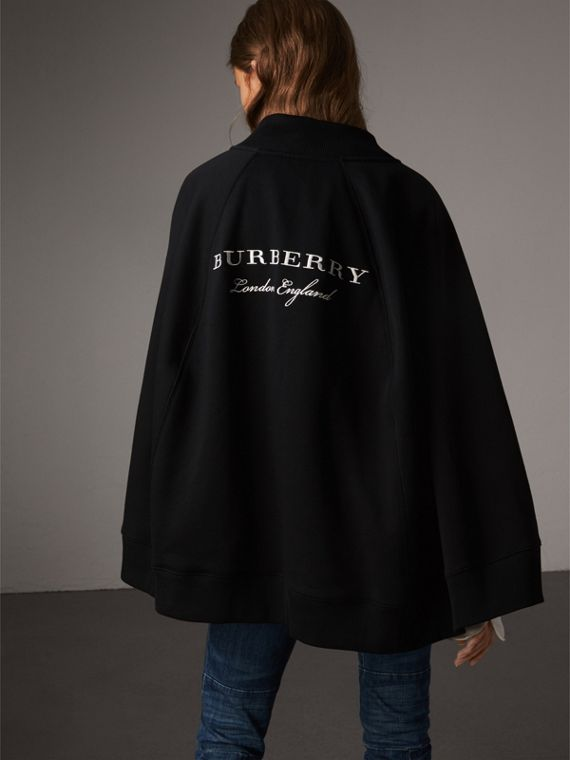 Embroidered Jersey Cape in Black - Women | Burberry