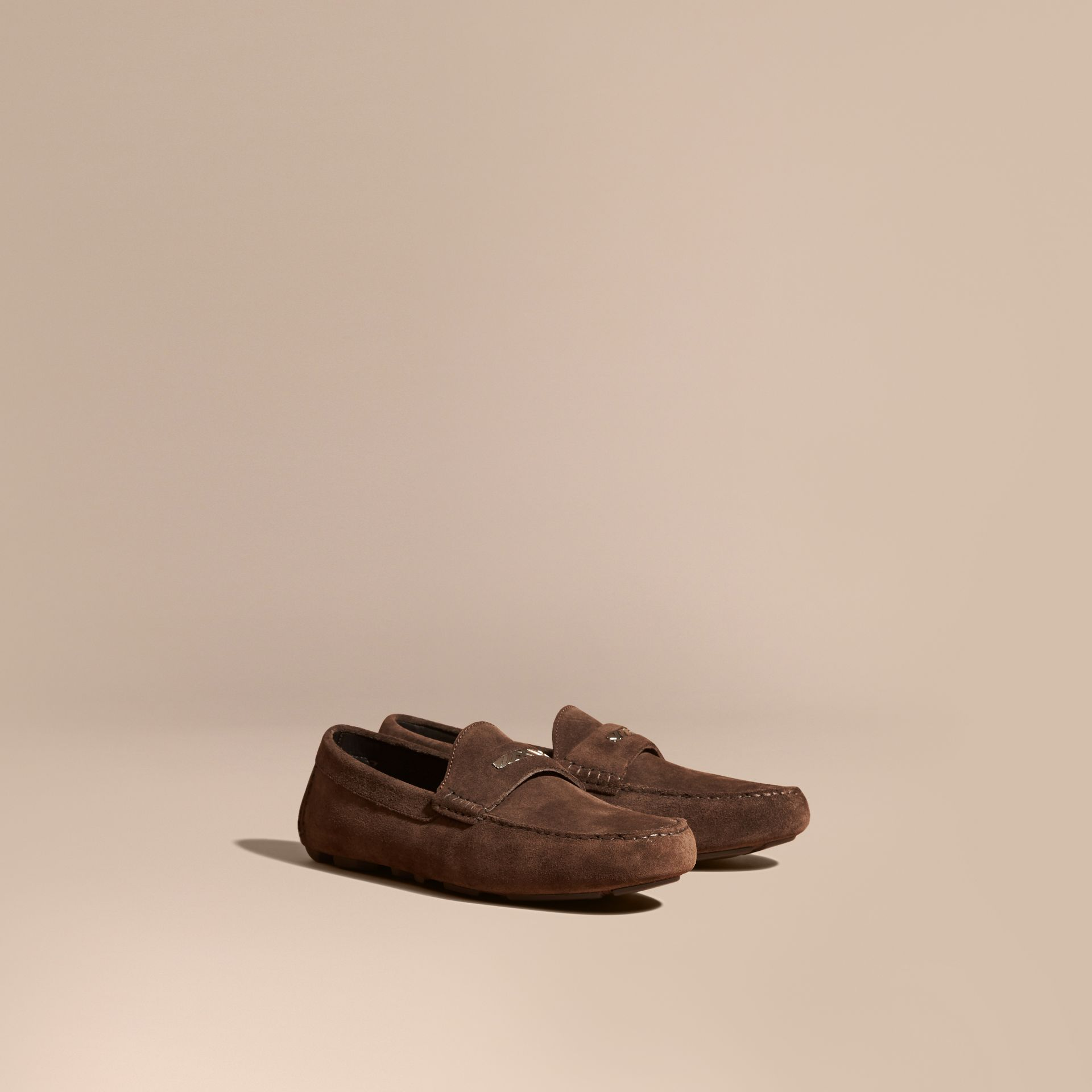 Suede Loafers with Engraved Check Detail Peat Brown - gallery image 1