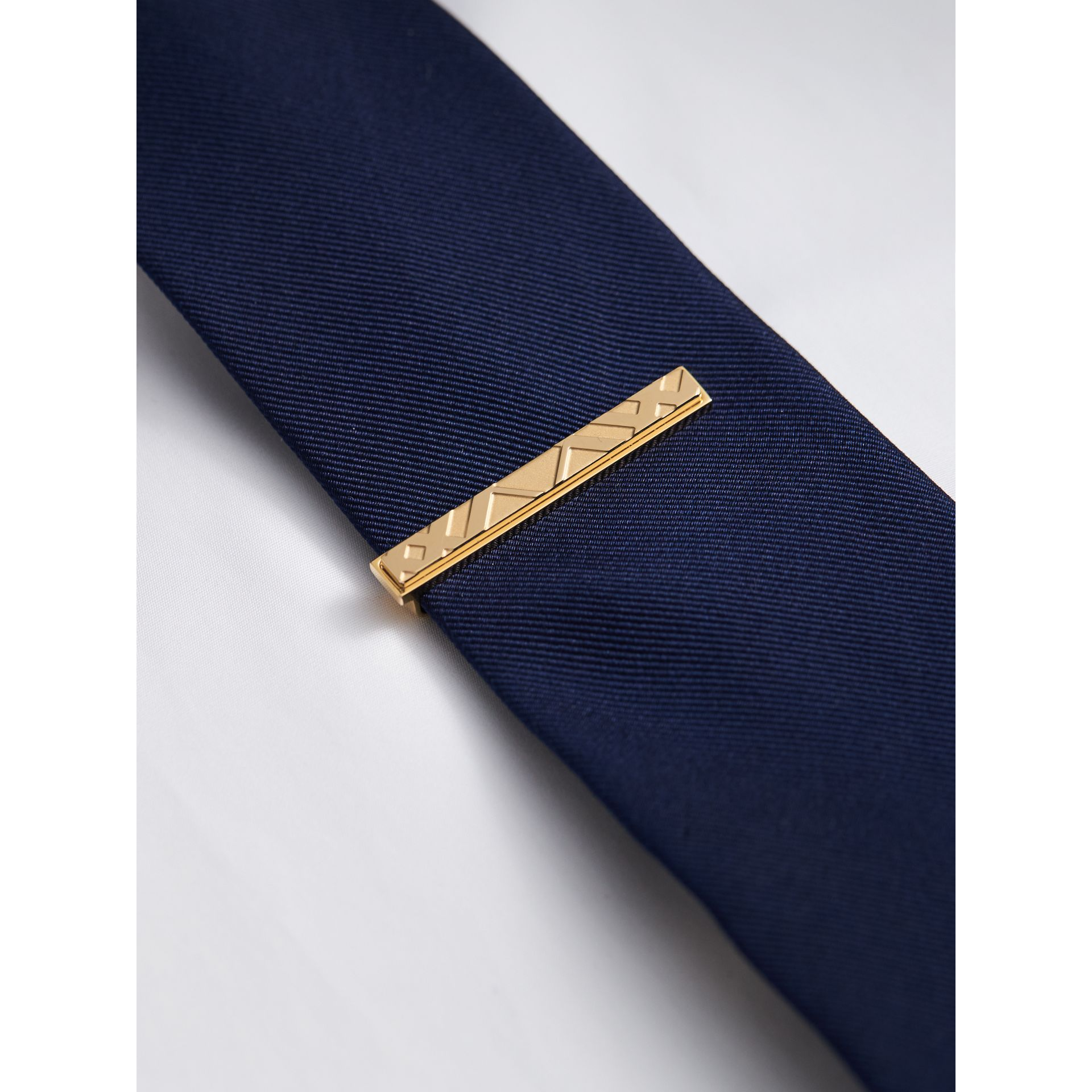 Check-engraved Tie Bar in Pale Gold - Men | Burberry - gallery image 2