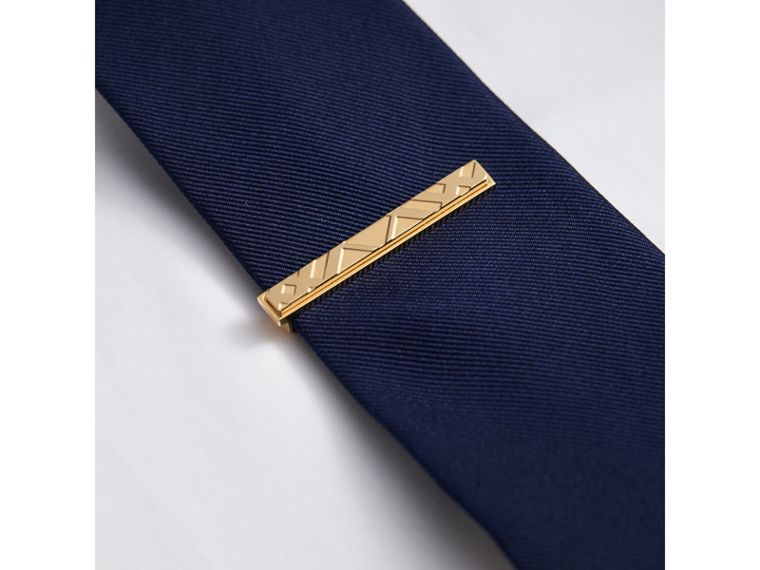 Check-engraved Tie Bar in Pale Gold - Men | Burberry Singapore - cell image 2