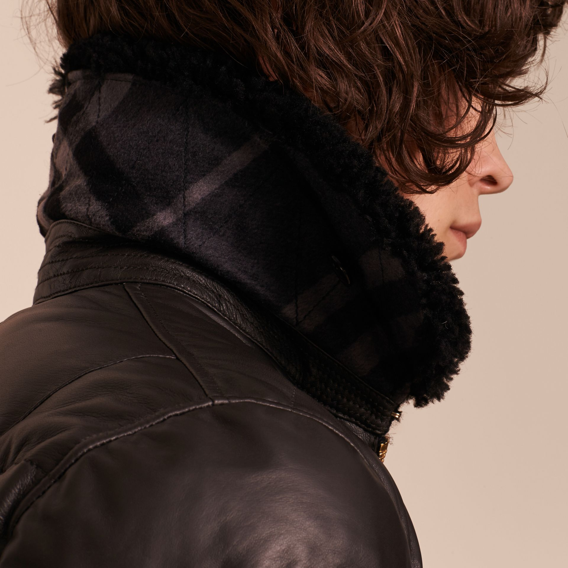 Chocolate brown Down-filled Lambskin Bomber Jacket with Shearling Collar - gallery image 6