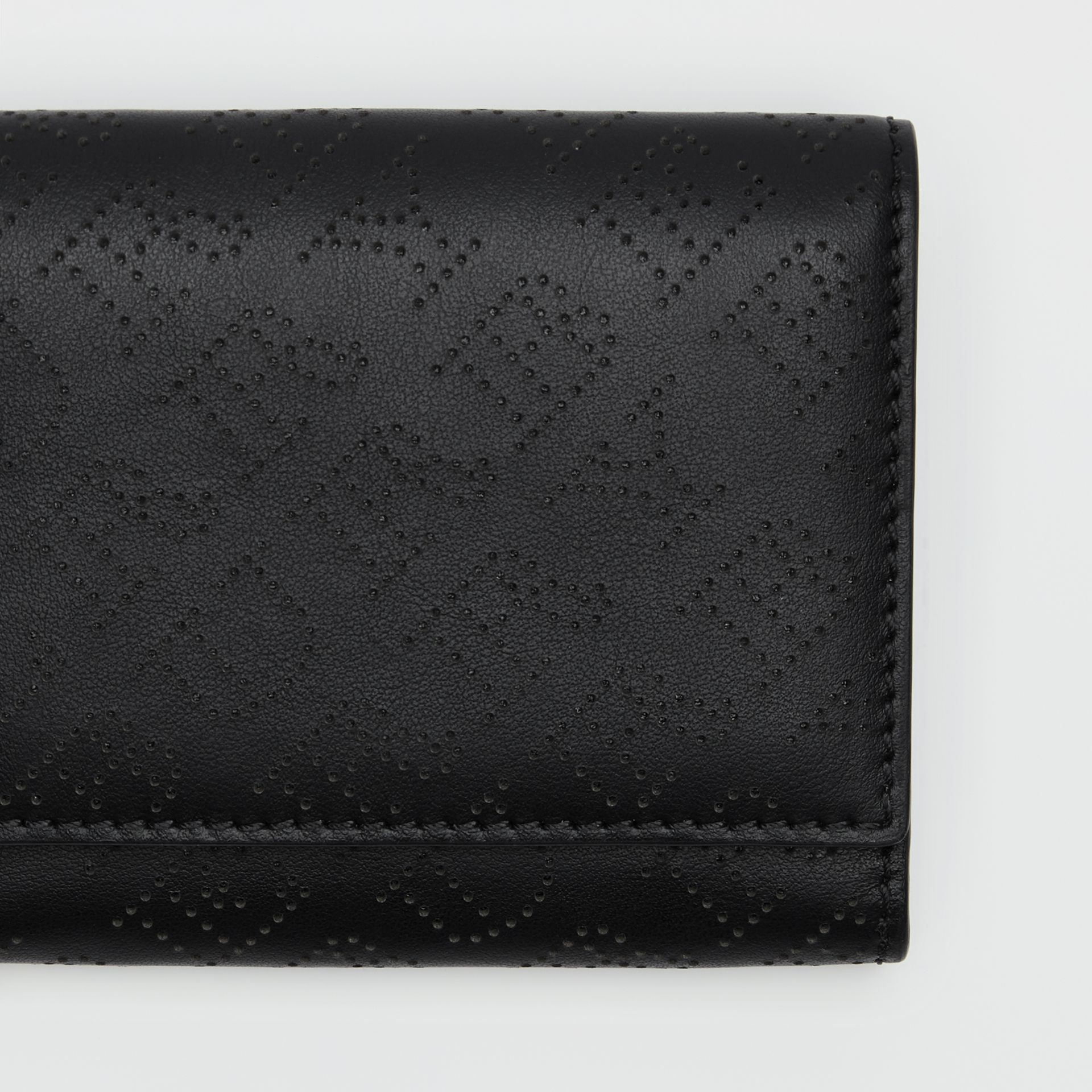Small Perforated Logo Leather Wallet in Black - Women | Burberry - gallery image 1