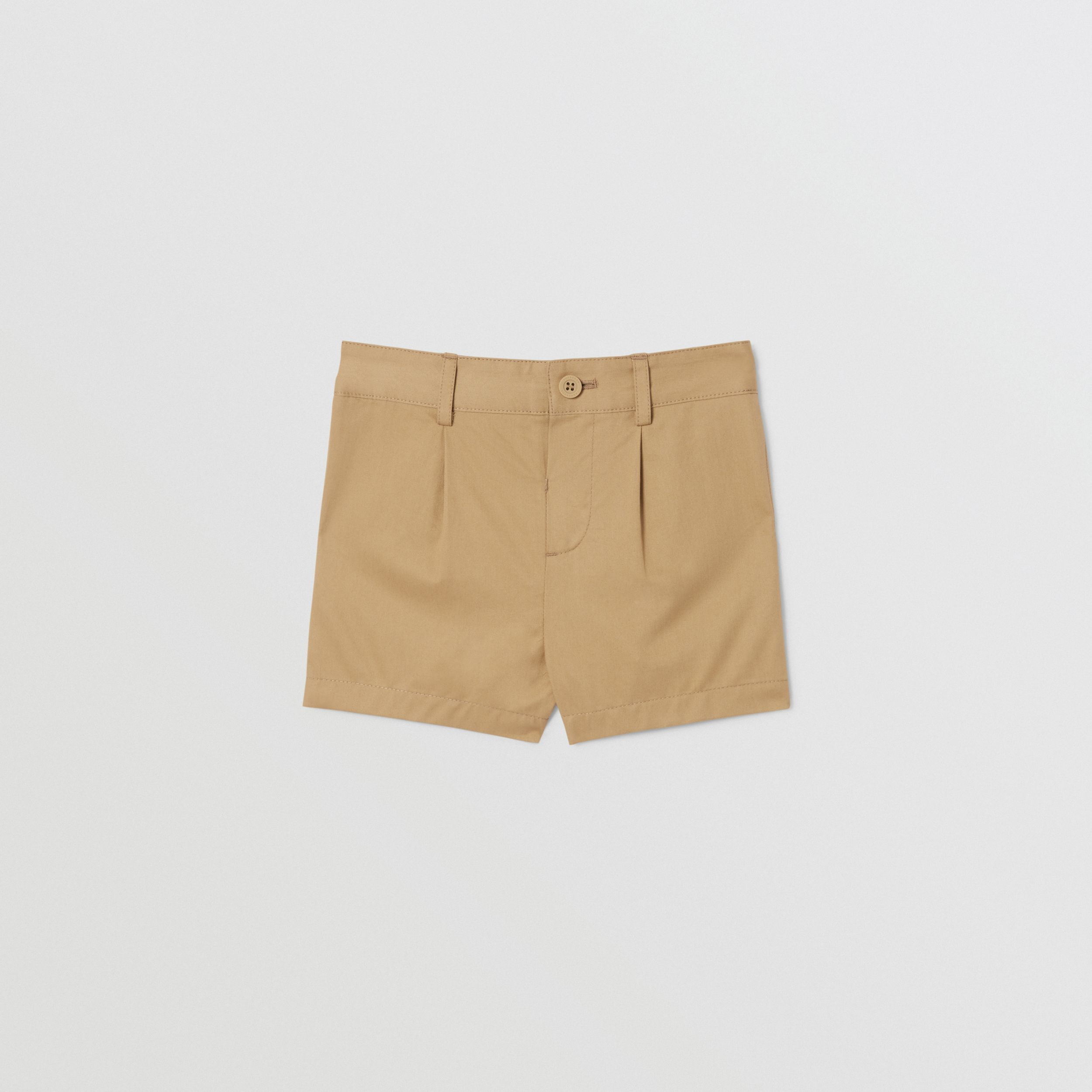 Logo Appliqué Cotton Twill Tailored Shorts in Archive Beige - Children | Burberry Singapore - 1