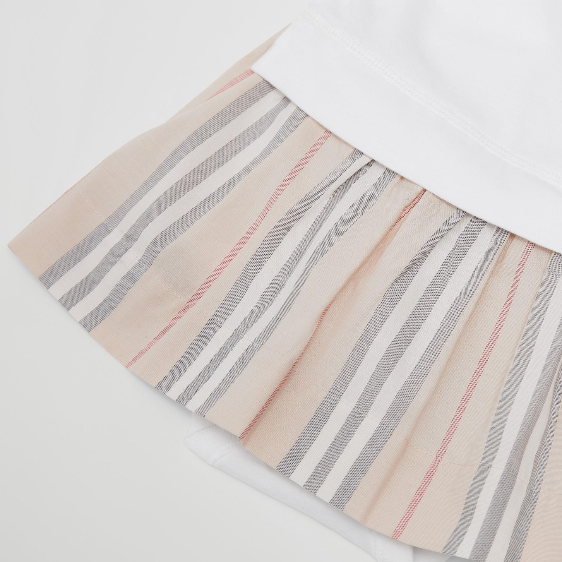 Icon Stripe Skirt Cotton Bodysuit in White - Children | Burberry Singapore - gallery image 1