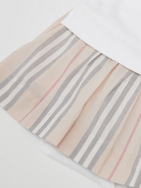 Icon Stripe Skirt Cotton Bodysuit in White - Children | Burberry United Kingdom - cell image 1