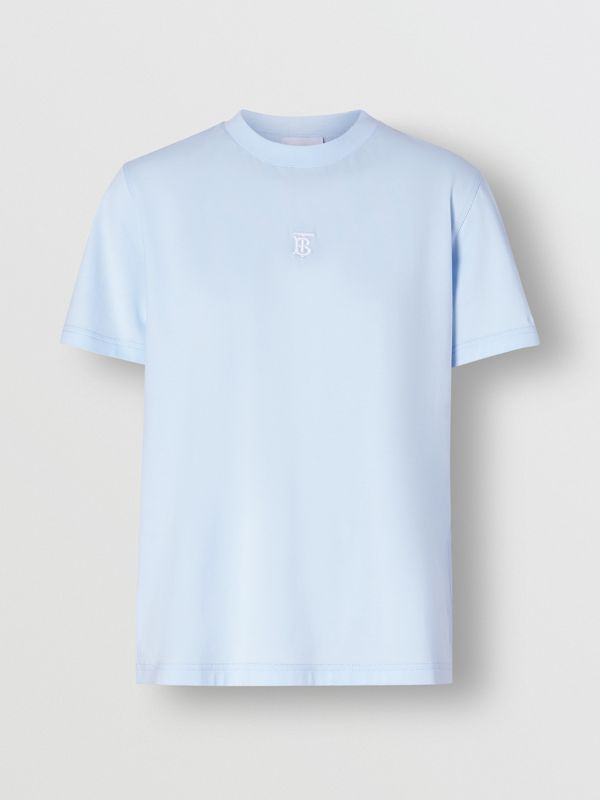 Monogram Motif Cotton T-shirt in Pale Blue - Women | Burberry - cell image 3