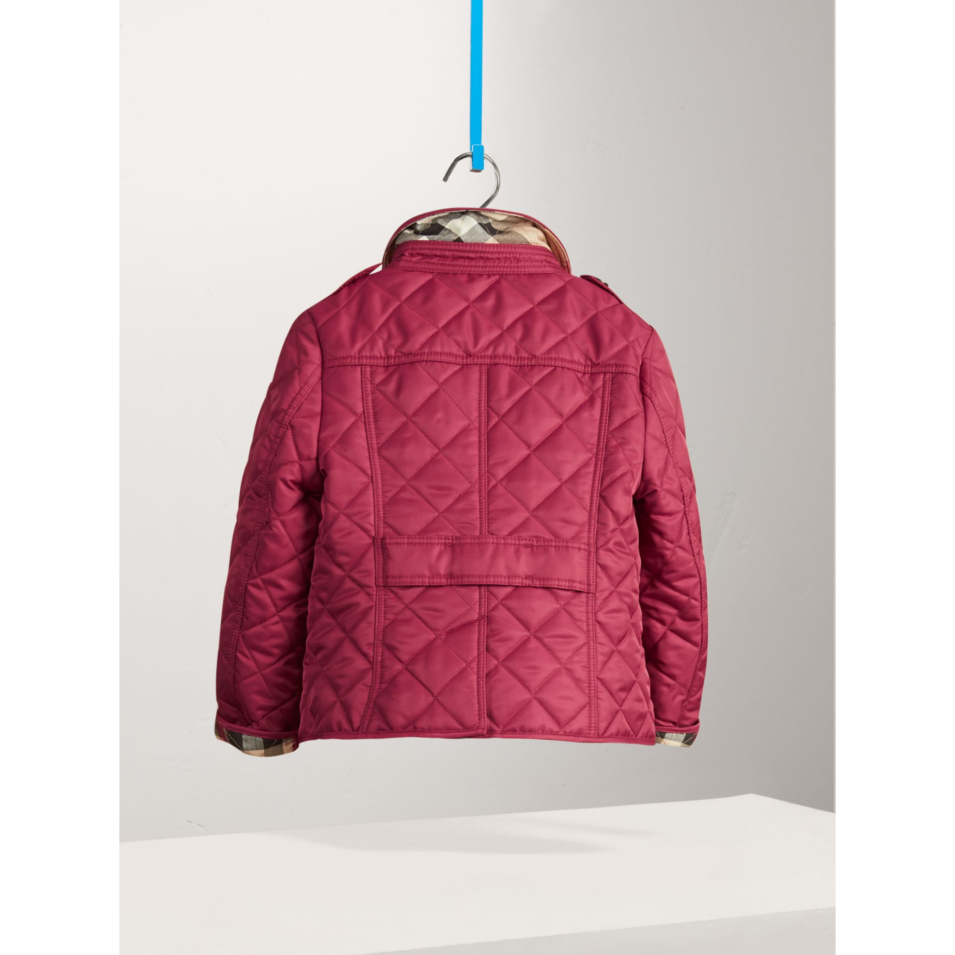 Check Lined Diamond Quilted Jacket in Fritillary Pink - Girl | Burberry - gallery image 3