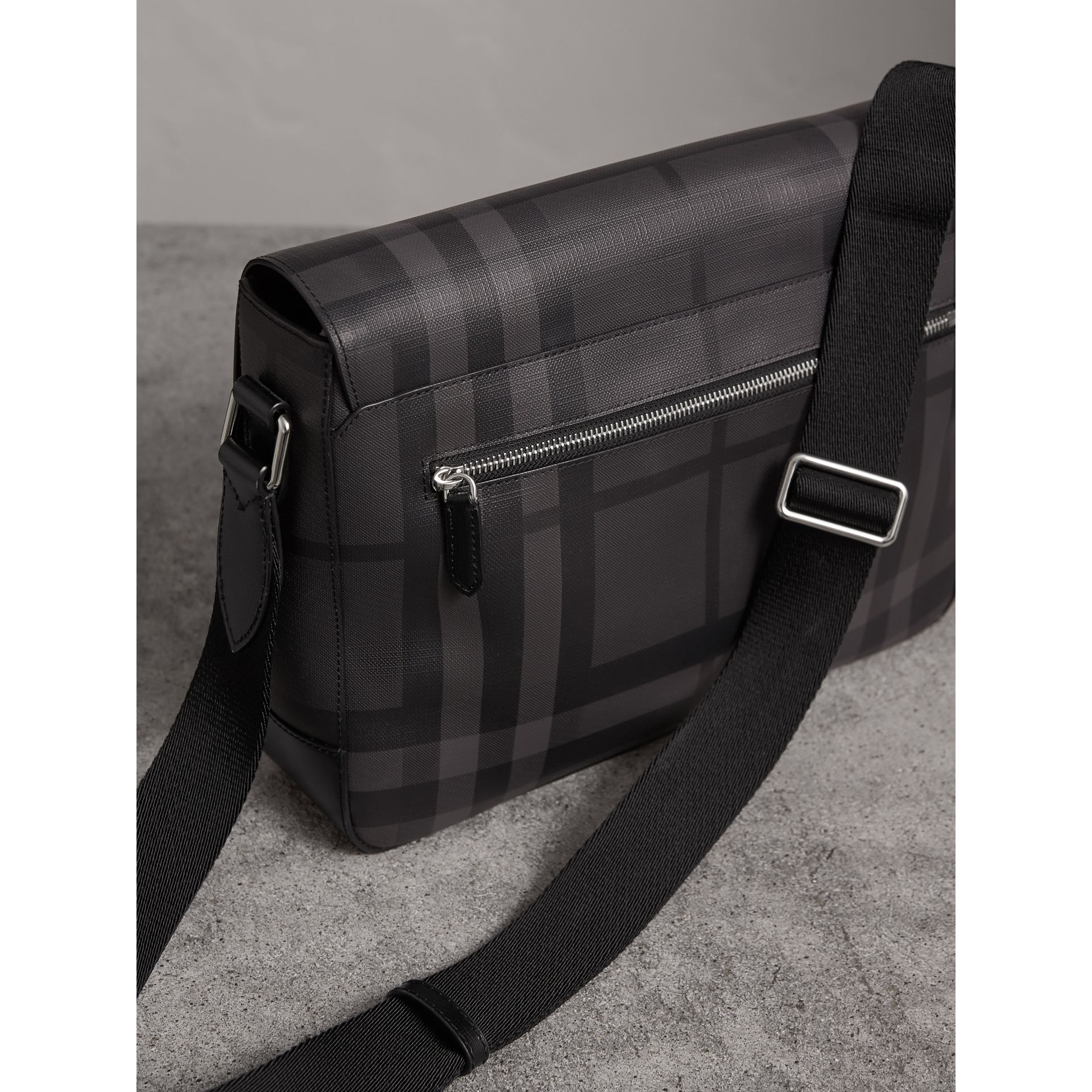 Medium Leather Trim London Check Messenger Bag in Charcoal/black - Men | Burberry - gallery image 3