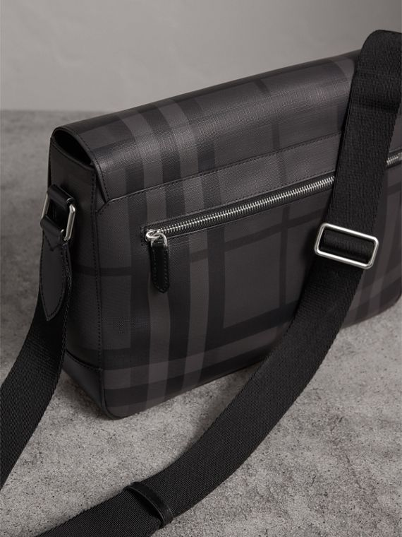 Medium Leather Trim London Check Messenger Bag in Charcoal/black - Men | Burberry - cell image 3