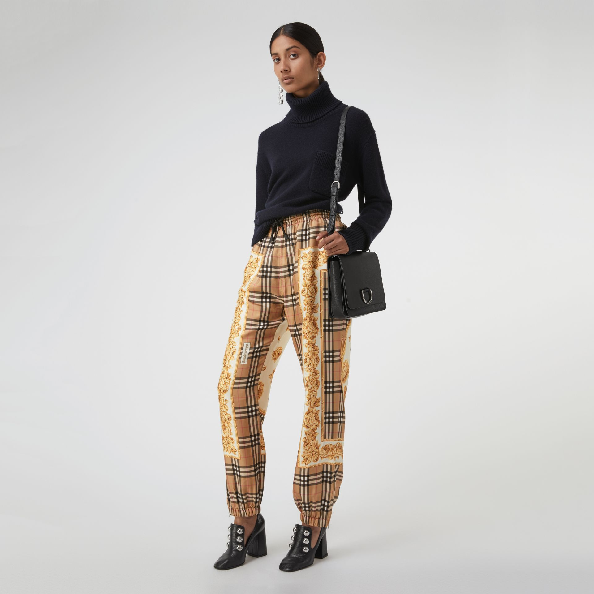 Scarf Border Vintage Check Silk Drawcord Trousers in Multicolour - Women | Burberry Hong Kong - gallery image 0