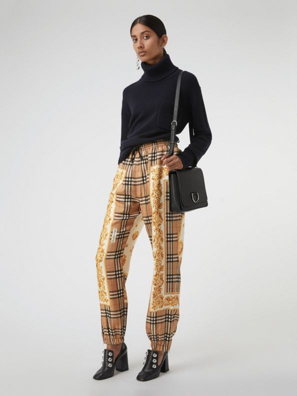 Scarf Border Vintage Check Silk Drawcord Trousers in Multicolour