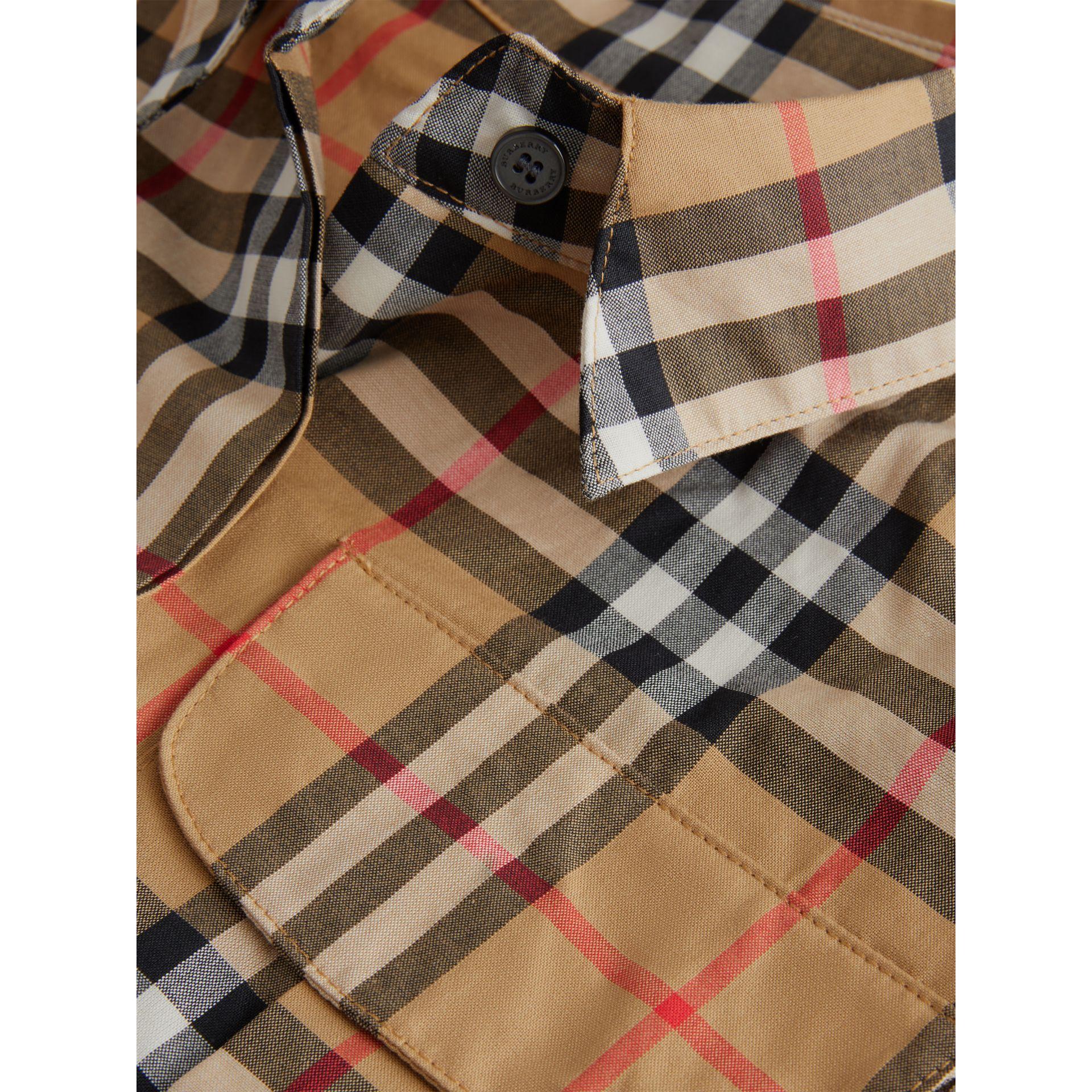Vintage Check Cotton Shirt in Antique Yellow | Burberry Australia - gallery image 1