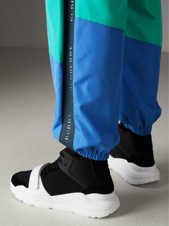 Tie-dye Silk Shell Suit Pants in Turquoise | Burberry - cell image 1
