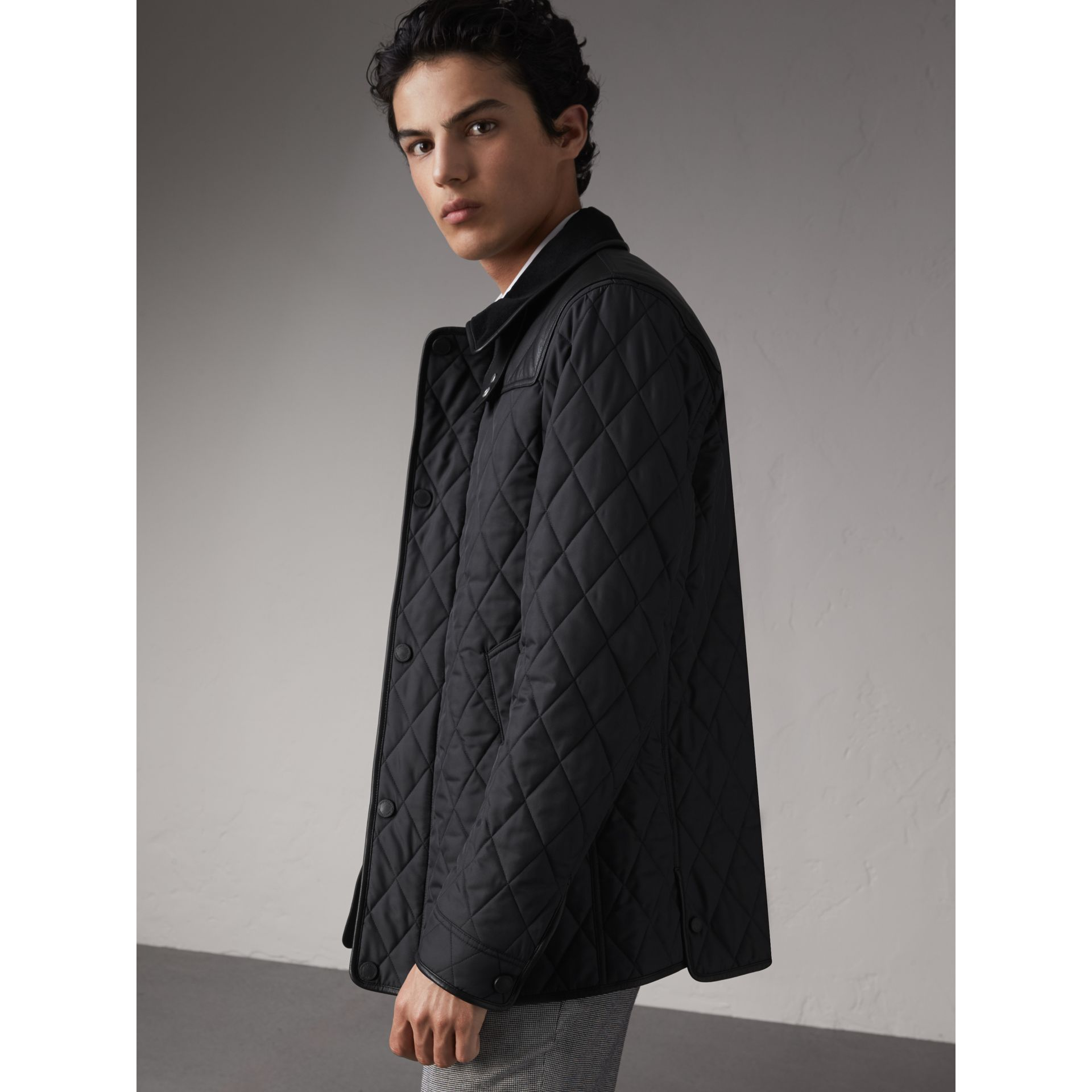 Lambskin Yoke Diamond Quilted Jacket in Black - Men | Burberry Singapore - gallery image 5