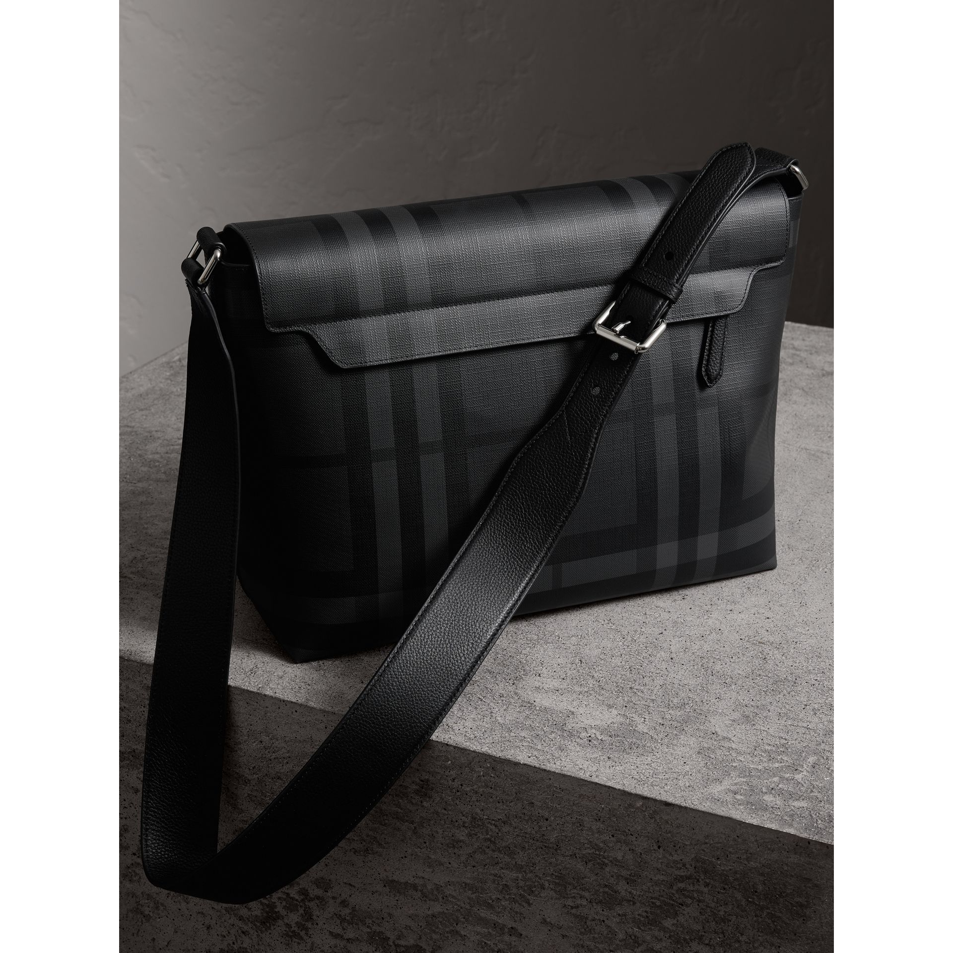 Large London Check Messenger Bag in Charcoal/black | Burberry - gallery image 3