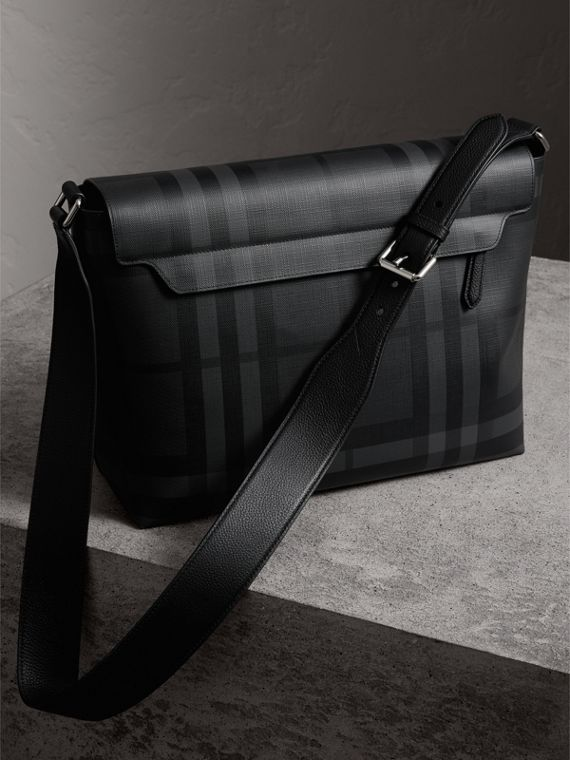 Large London Check Messenger Bag in Charcoal/black | Burberry Canada - cell image 3