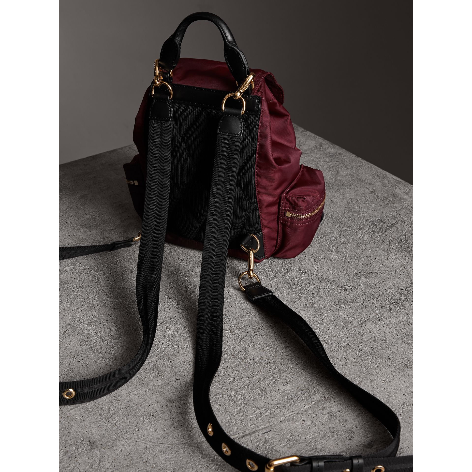 The Small Crossbody Rucksack in Nylon in Burgundy Red - Women | Burberry United Kingdom - gallery image 4