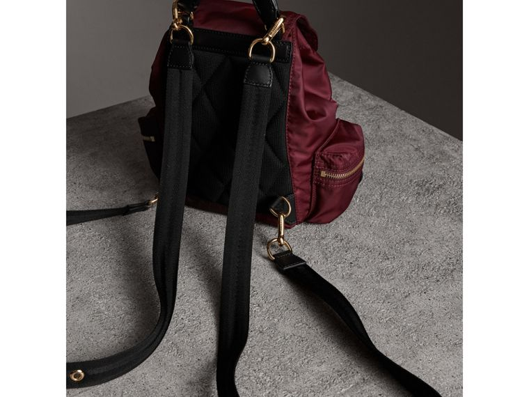 The Small Crossbody Rucksack in Nylon in Burgundy Red - Women | Burberry - cell image 4
