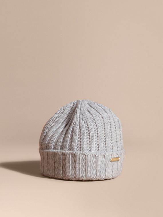 Ribbed Knit Wool Cashmere Beanie Light Grey Melange