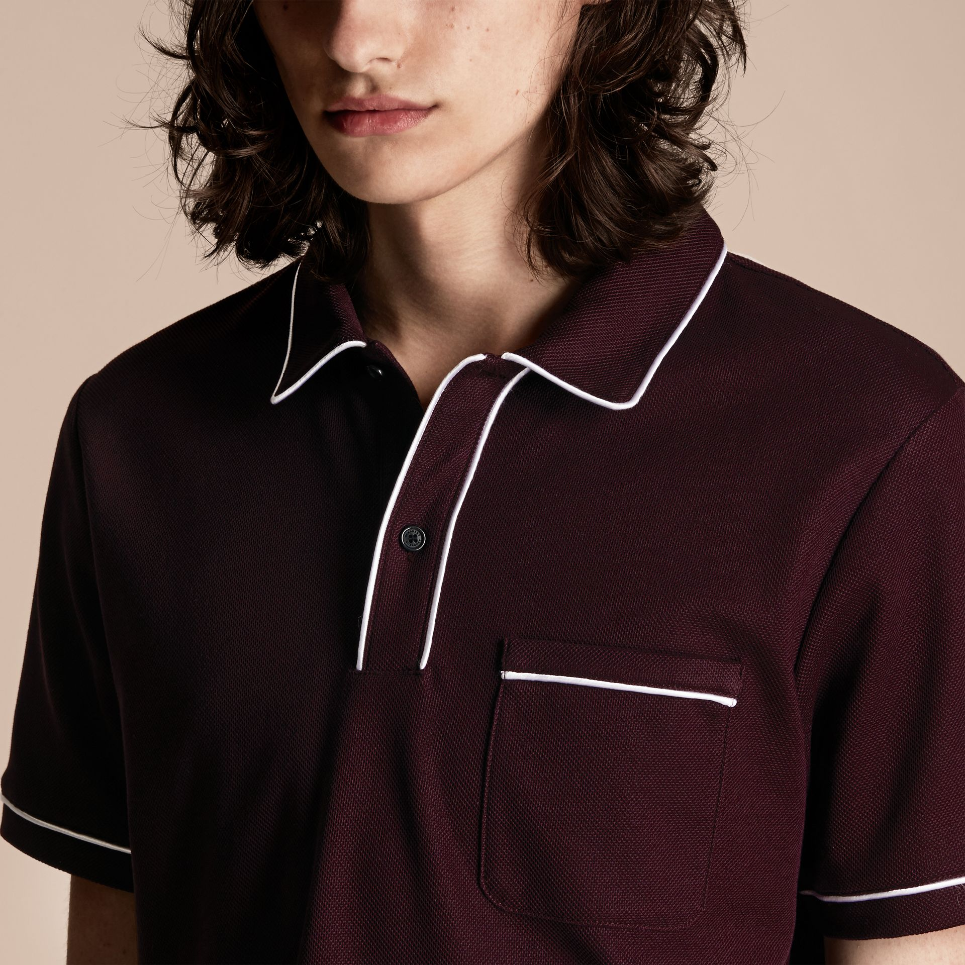Piped Cotton Piqué Polo Shirt in Burgundy - gallery image 5