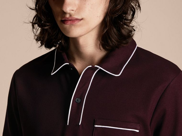 Piped Cotton Piqué Polo Shirt in Burgundy - cell image 4