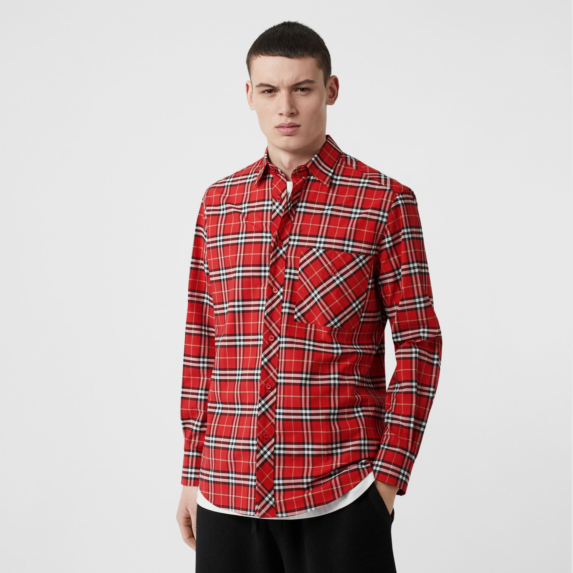 Small Scale Check Stretch Cotton Shirt in Cadmium Red - Men | Burberry - gallery image 4
