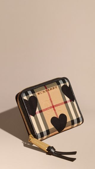 Heart Print Horseferry Check Ziparound Wallet