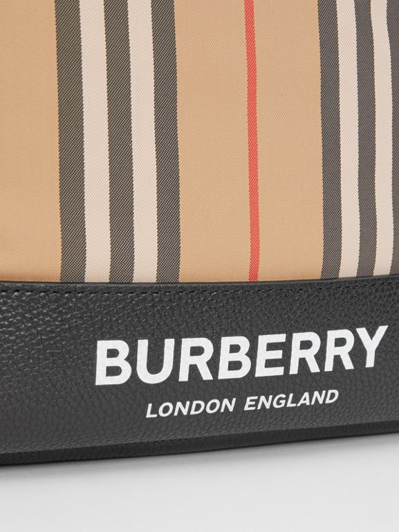 Icon Stripe Nylon Backpack in Archive Beige - Children | Burberry - cell image 1