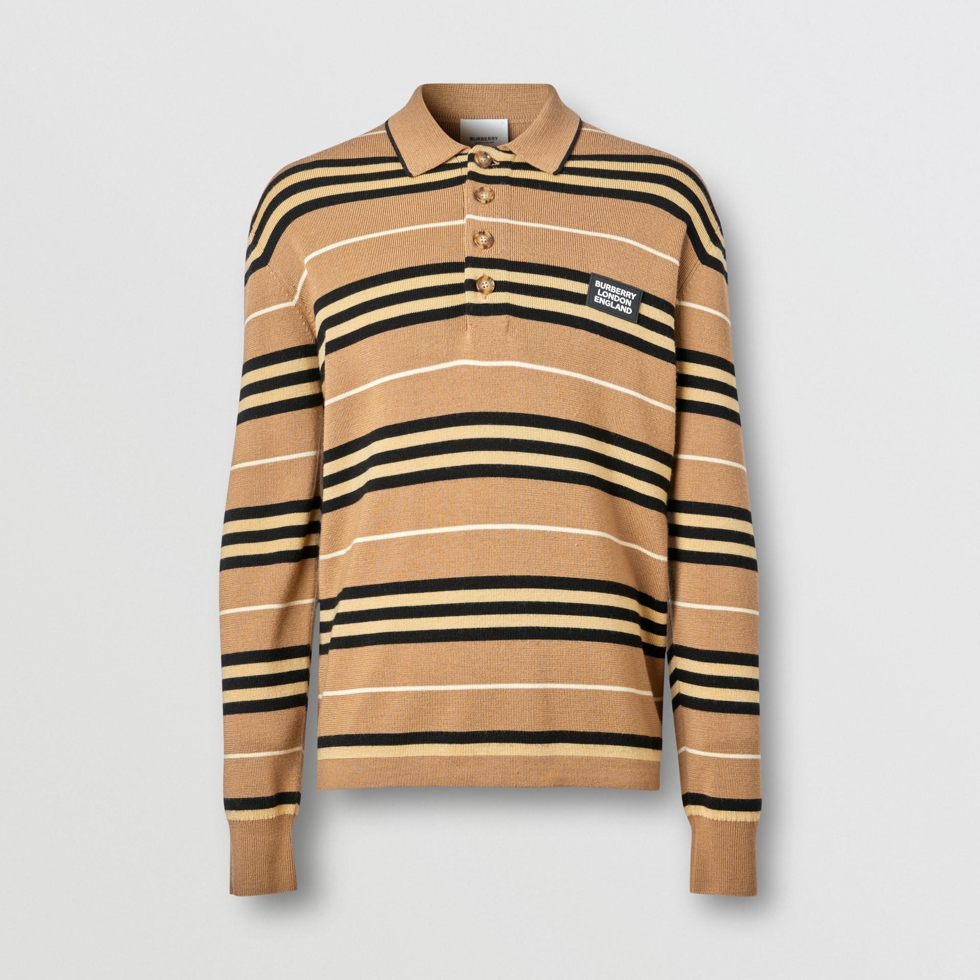 Polo a maniche lunghe in lana Merino con iconico motivo a righe (Noce Caldo) - Uomo   Burberry - immagine della galleria 3