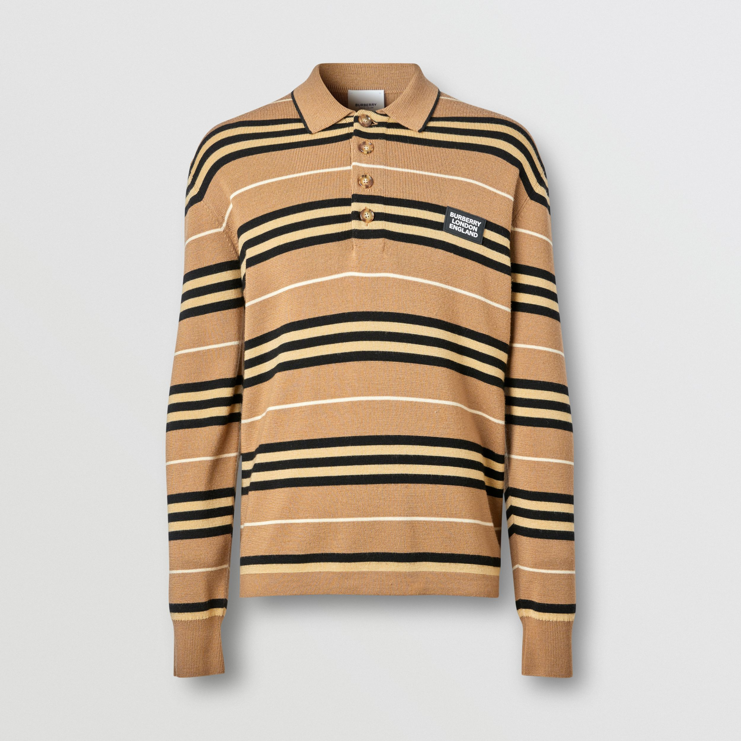 Long-sleeve Icon Stripe Merino Wool Polo Shirt in Warm Walnut - Men | Burberry United States - 4