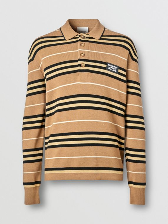 Long-sleeve Icon Stripe Merino Wool Polo Shirt in Warm Walnut