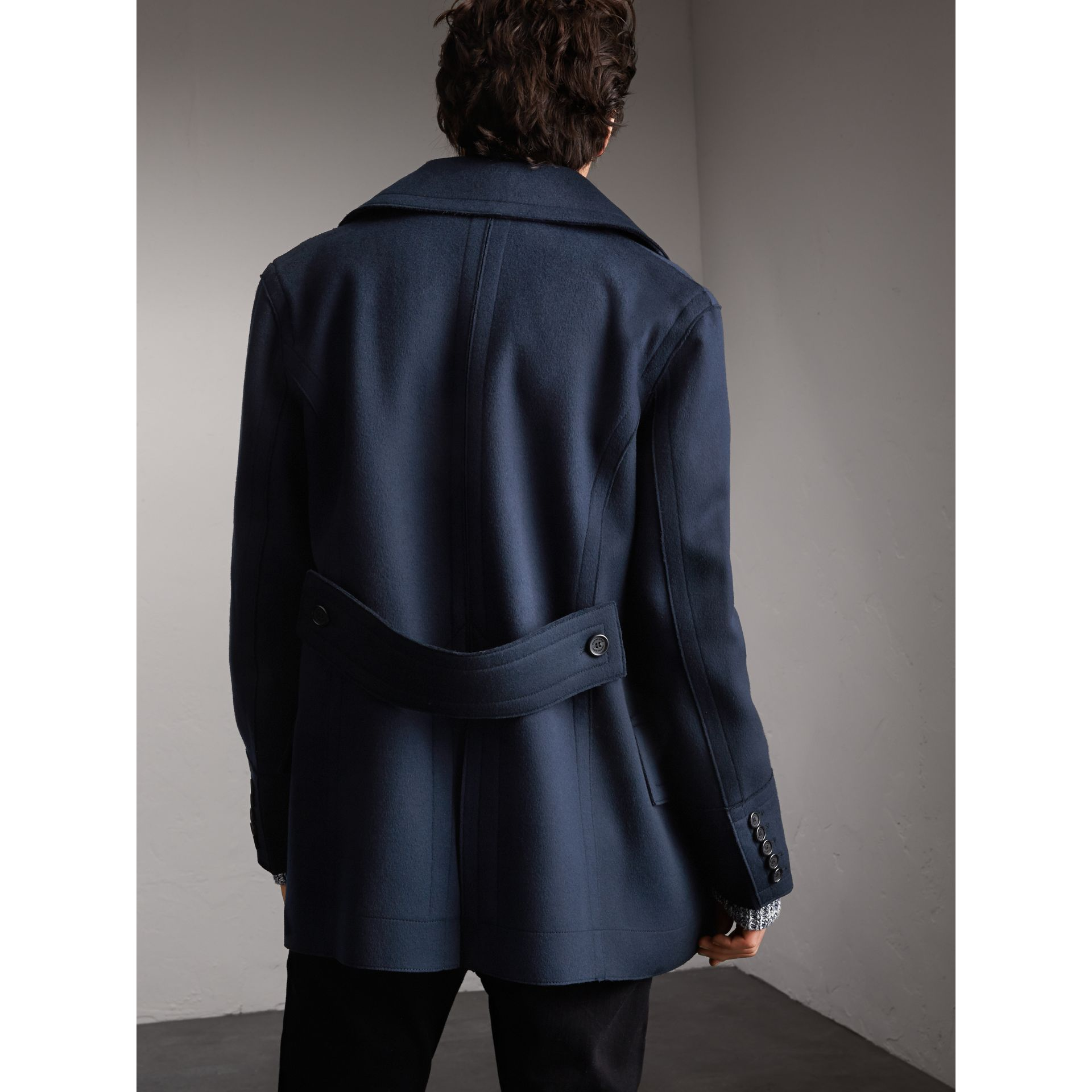 Resin Button Wool Pea Coat in Military Navy - Men | Burberry - gallery image 3