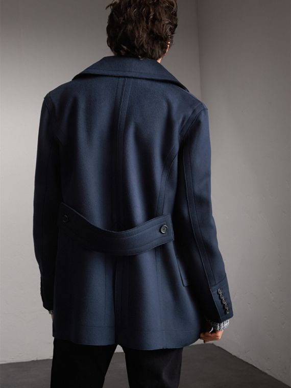 Resin Button Wool Pea Coat in Military Navy - Men | Burberry - cell image 2