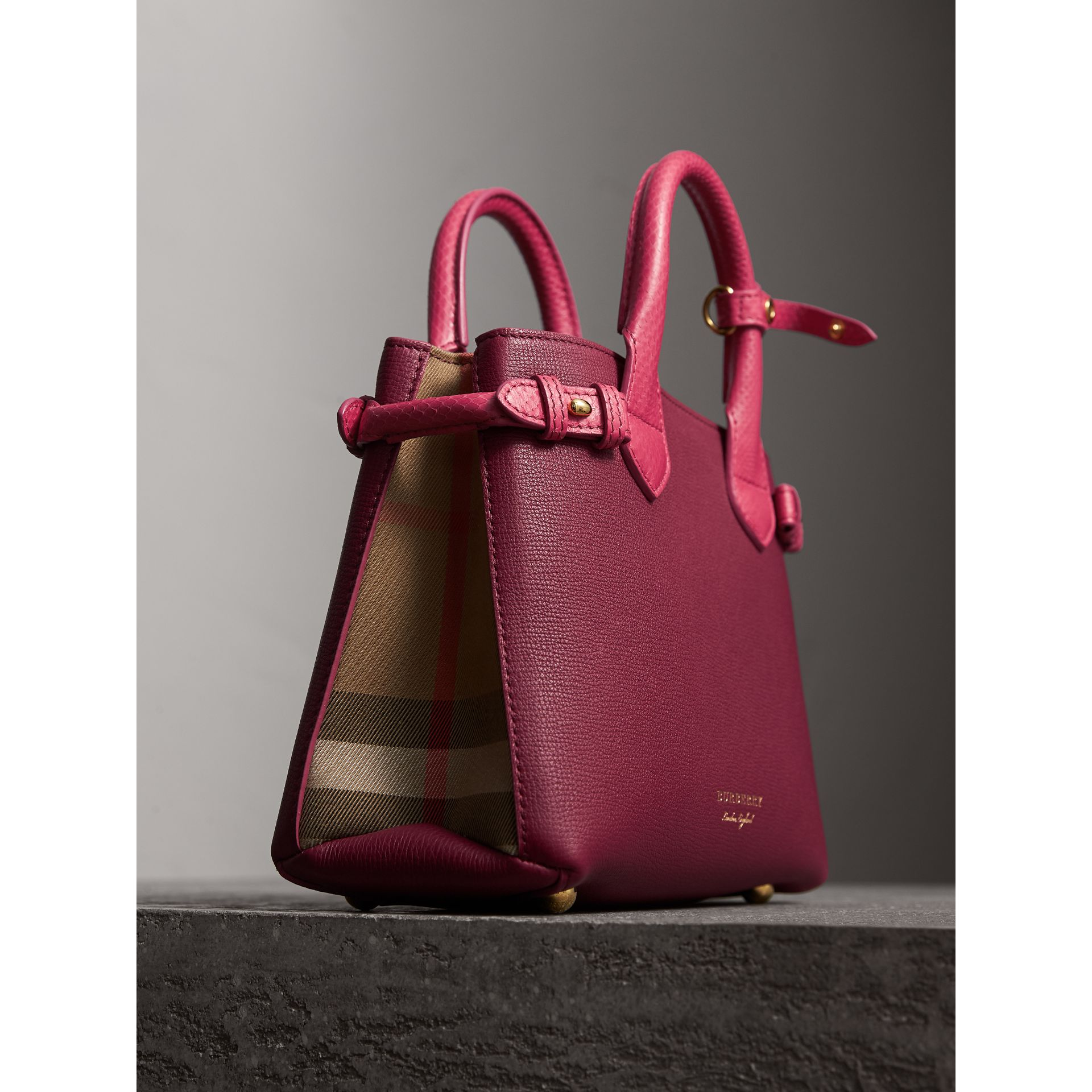 The Small Banner in Two-tone Leather in Berry Pink - Women | Burberry United Kingdom - gallery image 6