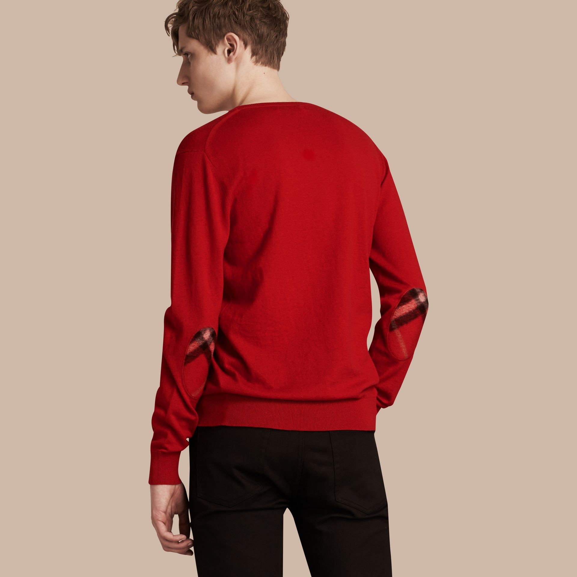 Check Trim Cashmere Cotton Sweater Military Red - gallery image 3