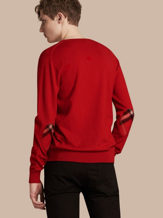 Check Trim Cashmere Cotton Sweater in Military Red - cell image 2