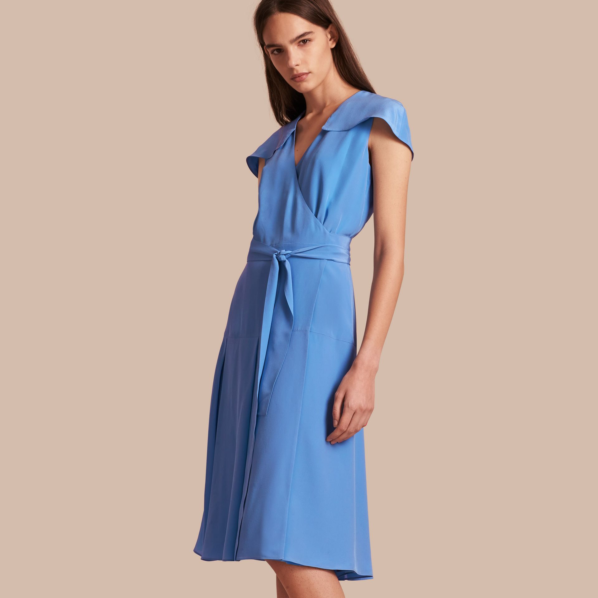 Cornflower Cape Detail Silk Wrap Dress Cornflower - gallery image 1