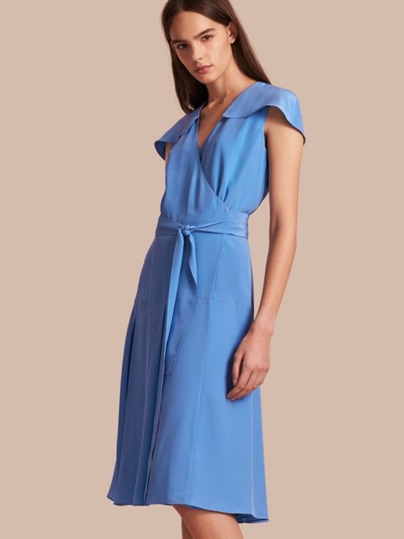 Cape Detail Silk Wrap Dress Cornflower